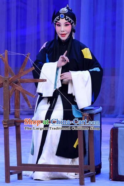 Chinese Beijing Opera Poor Woman Apparels Costumes and Headdress Han Yuniang Traditional Peking Opera Female Pauper Dress Distress Maiden Garment