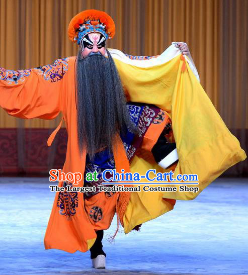 Nine Dragons Cup Chinese Peking Opera Laosheng Garment Costumes and Headwear Beijing Opera Apparels Elderly Male Clothing