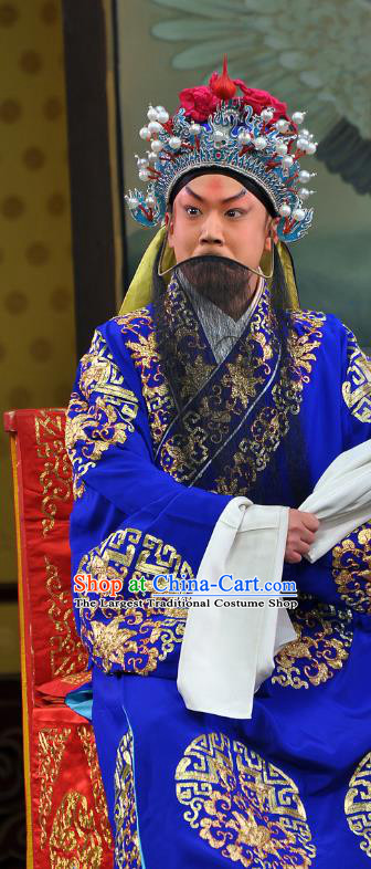 Nine Dragons Cup Chinese Peking Opera Old Man Garment Costumes and Headwear Beijing Opera Laosheng Apparels Elderly Male Blue Clothing