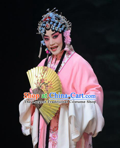 Chinese Beijing Opera Hua Tan Apparels Costumes and Headdress On A Wall and Horse Traditional Peking Opera Rich Lady Pink Dress Actress Li Qianjun Garment