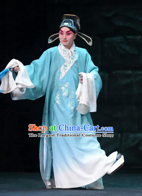 On A Wall and Horse Chinese Peking Opera Scholar Garment Costumes and Headwear Beijing Opera Young Male Apparels Childe Pei Shaojun Clothing