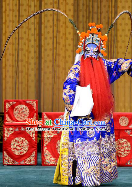 Chained Traps Chinese Peking Opera Laosheng Garment Costumes and Headwear Beijing Opera Elderly Male Apparels Dou Erdun Python Embroidered Robe Clothing
