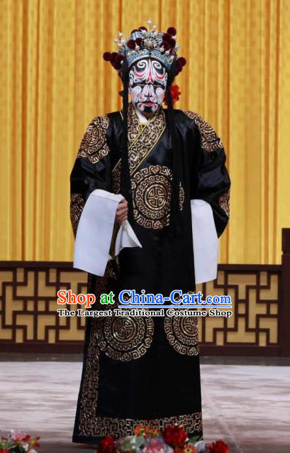 Chained Traps Chinese Peking Opera Laosheng Garment Costumes and Headwear Beijing Opera Jing Role Apparels Martial Male Black Clothing