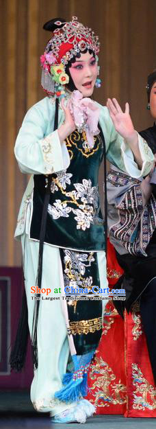 Chinese Beijing Opera Young Female Apparels Romance of the Iron Bow Costumes and Headpieces Traditional Peking Opera Actress Dress Diva Chen Xiuying Garment