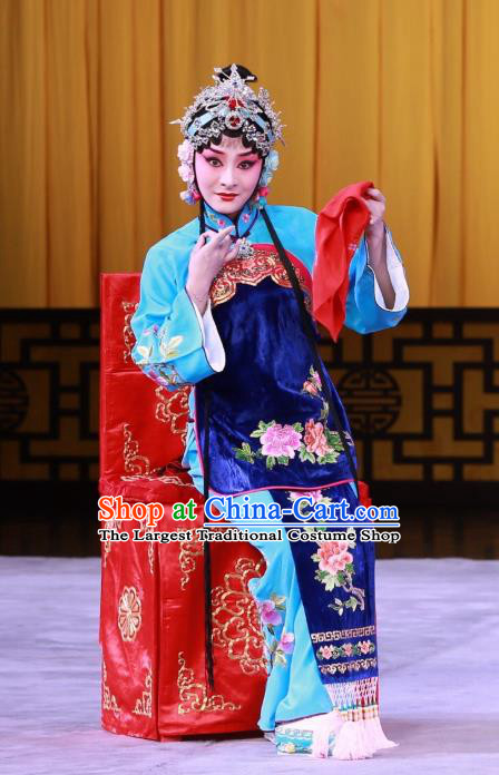 Chinese Beijing Opera Actress Apparels Romance of the Iron Bow Costumes and Headpieces Traditional Peking Opera Hua Tan Dress Diva Chen Xiuying Garment