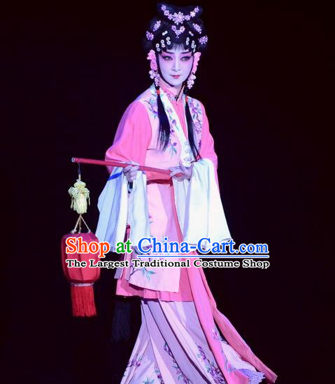 Chinese Beijing Opera Xiaodan Apparels Tian Dao Xing Costumes and Headdress Traditional Peking Opera Maidservant Li Ruilian Dress Servant Girl Garment