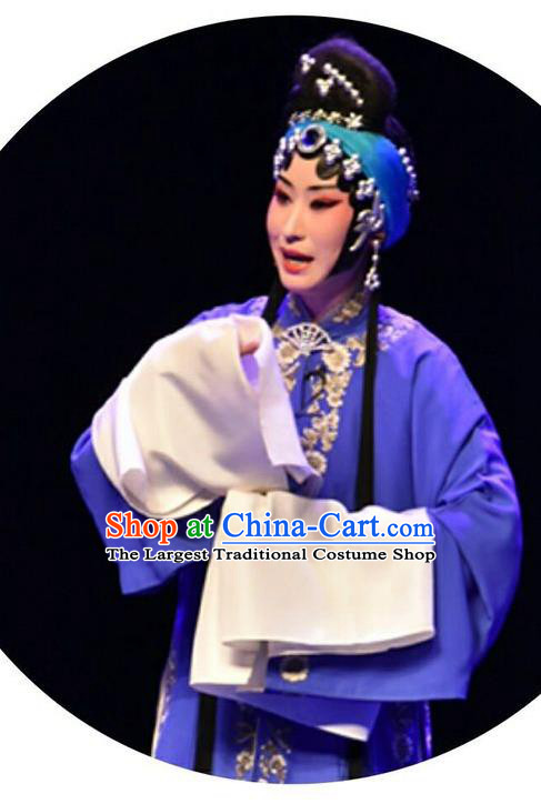 Chinese Beijing Opera Young Female Apparels Qing Tian Dao Costumes and Headpieces Traditional Peking Opera Actress Dress Distress Maiden Garment