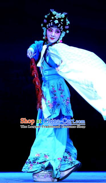 Chinese Beijing Opera Xiaodan Servant Girl Apparels Tian Dao Xing Costumes and Headdress Traditional Peking Opera Li Ruilian Dress Maidservant Garment