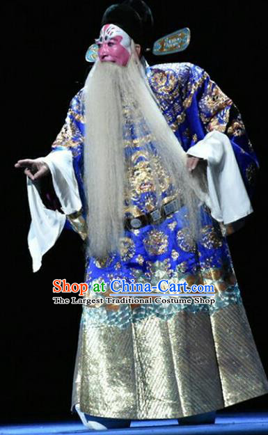 Qing Tian Dao Chinese Peking Opera Elderly Male Yan Song Garment Costumes and Headwear Beijing Opera Official Apparels Minister Clothing