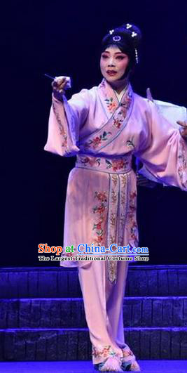 Chinese Beijing Opera Young Lady Apparels Qing Tian Dao Costumes and Headpieces Traditional Peking Opera Xiaodan Dress Servant Girl Garment