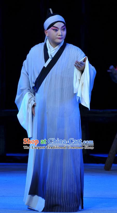 Tian Dao Xing Chinese Peking Opera Scholar Dong Hong Garment Costumes and Headwear Beijing Opera Young Man Apparels Taoist Robe Clothing