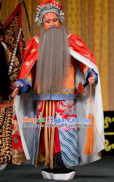 Jiu Jiang Kou Chinese Peking Opera King Garment Costumes and Headwear Beijing Opera Laosheng Apparels Elderly Male Chen Youliang Clothing