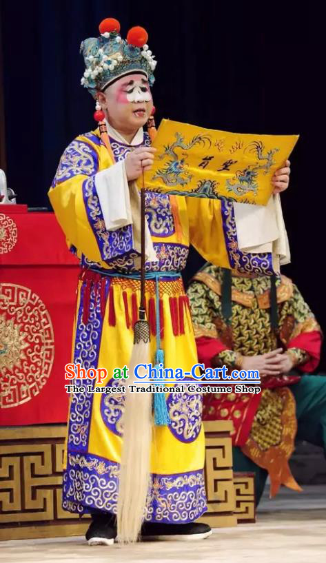 Jiu Jiang Kou Chinese Peking Opera Court Eunuch Garment Costumes and Headwear Beijing Opera Figurant Apparels Clothing