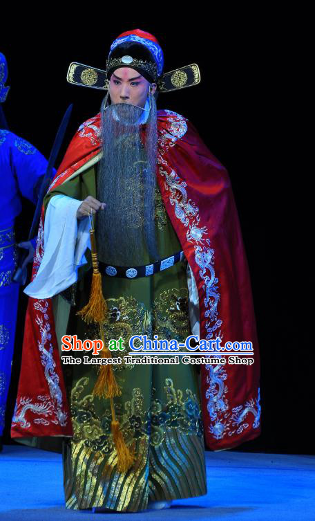 Tian Dao Xing Chinese Peking Opera Elderly Official Garment Costumes and Headwear Beijing Opera Laosheng Apparels Grand Coordinator Clothing