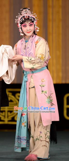 Chinese Beijing Opera Maidservant Apparels Ba Zhen Tang Costumes and Headpieces Traditional Peking Opera Xiaodan Dress Young Lady Chun Lan Garment