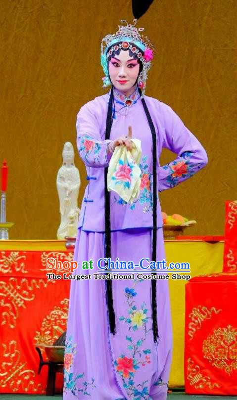 Chinese Beijing Opera Hua Tan Apparels Ba Zhen Tang Costumes and Headpieces Traditional Peking Opera Young Lady Purple Dress Garment