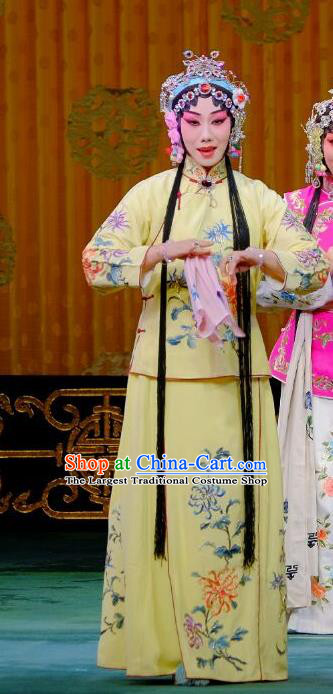 Chinese Beijing Opera Young Lady Apparels Ba Zhen Tang Costumes and Headpieces Traditional Peking Opera Maidservant Chun Lan Yellow Dress Garment