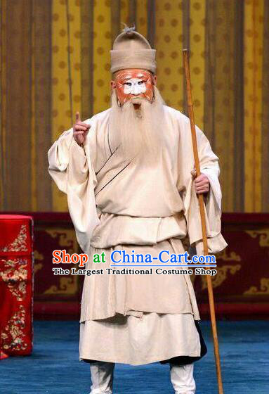 Qi Yuan Bao Chinese Peking Opera Jing Role Garment Costumes and Headwear Beijing Opera Elderly Pauper Zhang Biegu Apparels Clothing