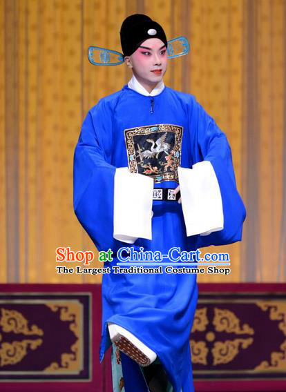 Qi Shuang Hui Chinese Peking Opera Young Male Garment Costumes and Headwear Beijing Opera Xiaosheng Apparels Official Zhao Chong Clothing