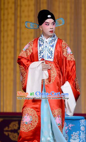 Qi Shuang Hui Chinese Peking Opera Young Male Wedding Garment Costumes and Headwear Beijing Opera Xiaosheng Apparels Bridegroom Zhao Chong Clothing