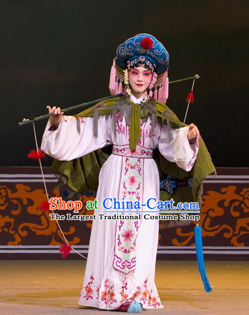 Chinese Beijing Opera Young Female Apparels Lian Jinfeng Costumes and Headdress Traditional Peking Opera Actress Dress Fisher Maiden Garment