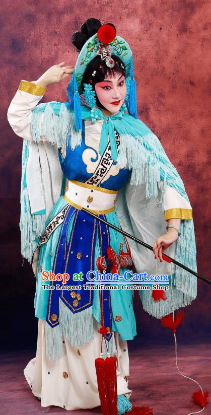Chinese Beijing Opera Diva Apparels Lian Jinfeng Costumes and Headdress Traditional Peking Opera Fisher Maiden Dress Country Woman Garment