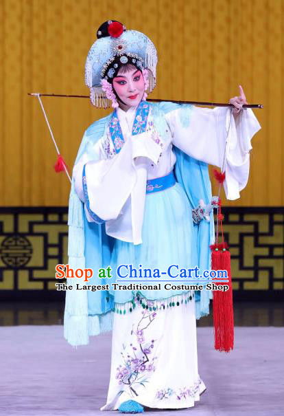 Chinese Beijing Opera Country Woman Apparels Lian Jinfeng Costumes and Headdress Traditional Peking Opera Fisher Maiden Dress Garment