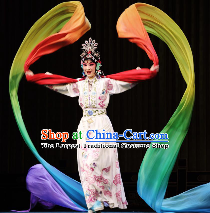 Chinese Beijing Opera Young Female Apparels Costumes and Headdress Petal Sprinkles From Heaven Traditional Peking Opera Hua Tan Dress Goddess Garment