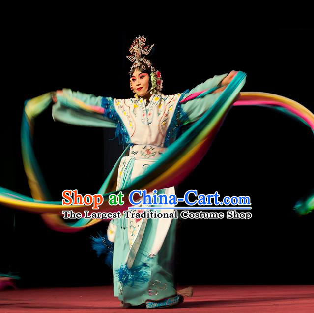 Chinese Beijing Opera Apparels Goddess Costumes and Headdress Petal Sprinkles From Heaven Traditional Peking Opera Hua Tan Dress Young Female Garment