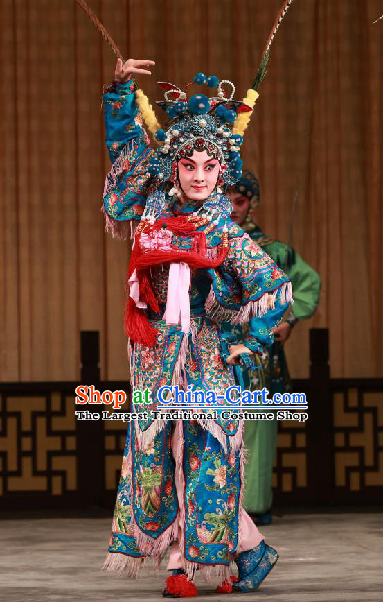 Chinese Beijing Opera Martial Lady Hu Sanniang Apparels Hu Jia Zhuang Costumes and Headdress Traditional Peking Opera Tao Ma Tan Dress Female General Armor Garment