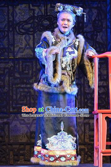 Chinese Beijing Opera Elderly Female Apparels Yue Zhao Sai Bei Costumes and Headdress Traditional Peking Opera Laodan Dress Old Dame Garment