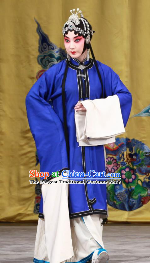 Chinese Beijing Opera Distress Maiden Apparels Zhu Sha Zhi Costumes and Headdress Traditional Peking Opera Young Female Blue Dress Garment