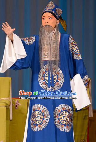 Zhu Sha Zhi Chinese Peking Opera Prefecture Han Tingfeng Garment Costumes and Headwear Beijing Opera Laosheng Apparels Elderly Male Clothing
