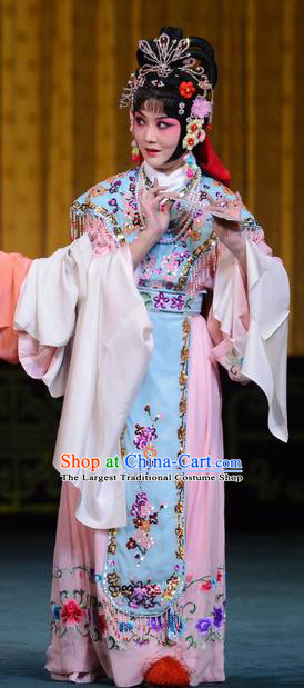Chinese Beijing Opera Servant Girl Apparels Hongniang Costumes and Headpieces Traditional Peking Opera Xiaodan Dress Young Beauty Garment