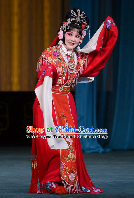 Chinese Beijing Opera Young Beauty Apparels Hongniang Costumes and Headpieces Traditional Peking Opera Xiaodan Red Dress Maidservant Garment