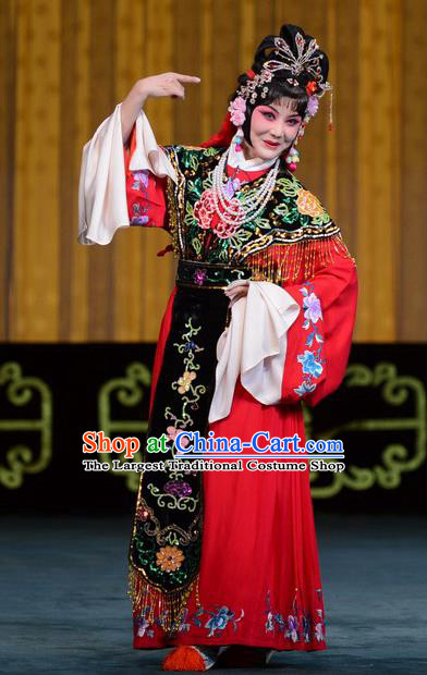 Chinese Beijing Opera Young Female Apparels Hongniang Costumes and Headpieces Traditional Peking Opera Hua Tan Dress Actress Red Garment