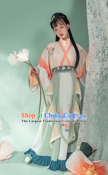 Chinese Ancient Royal Princess Hanfu Dress Traditional Garment Apparels Jin Dynasty Court Lady Historical Costumes for Women