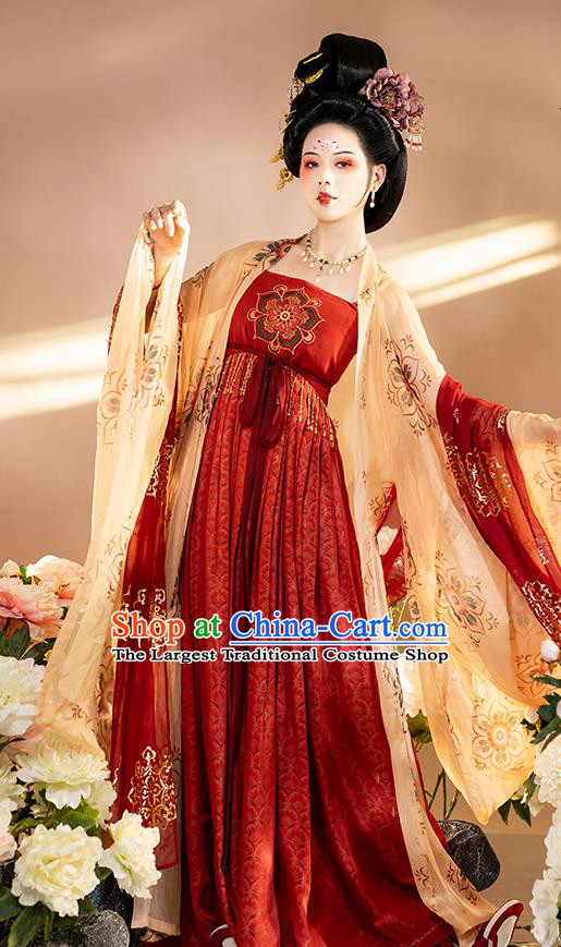 Chinese Traditional Tang Dynasty Court Lady Apparels Historical Costumes Ancient Imperial Concubine Hanfu Dress Royal Princess Garment for Women