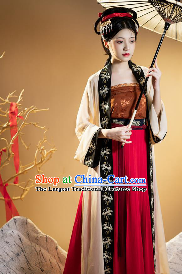 Chinese Traditional Ancient Women Historical Costumes Hanfu Dress Garment Song Dynasty Civilian Female Apparels Complete Set
