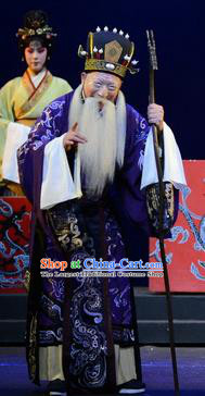 Qu Yuan Chinese Peking Opera Elderly Male Garment Costumes and Headwear Beijing Opera Laosheng Apparels Clothing