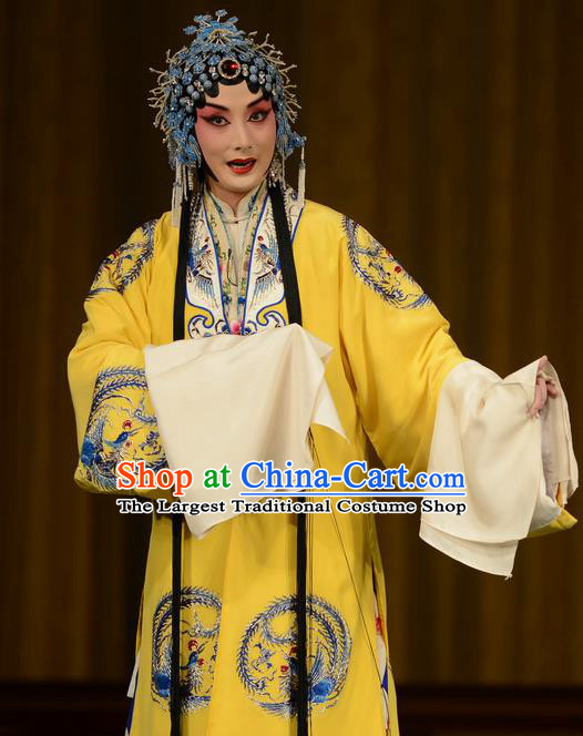 Chinese Beijing Opera Princess Nanning Apparels Zhan Jing Tang Costumes and Headpieces Traditional Peking Opera Hua Tan Yellow Dress Garment