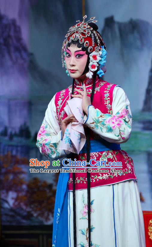 Chinese Beijing Opera Young Lady Apparels Shi Wen Hui Costumes and Headpieces Traditional Peking Opera Xiaodan Dress Servant Girl Garment