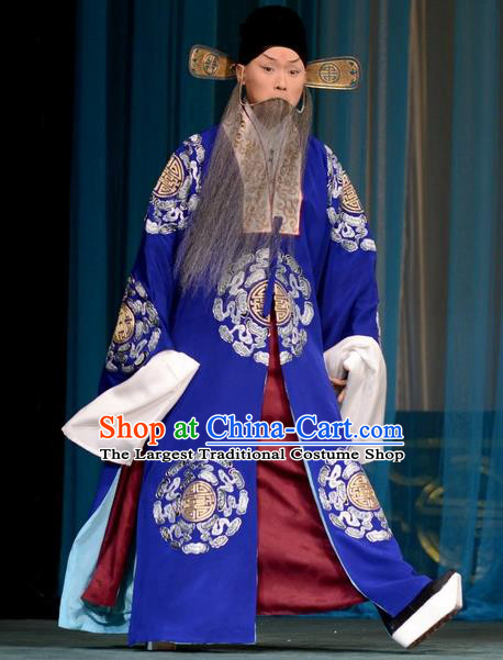 Hong Yang Dong Chinese Peking Opera Landlord Garment Costumes and Headwear Beijing Opera Elderly Male Apparels Official Yang Yanzhao Clothing