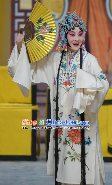 Chinese Beijing Opera Hua Tan Apparels Su Xiaomei Costumes and Headpieces Traditional Peking Opera Actress White Dress Young Female Garment