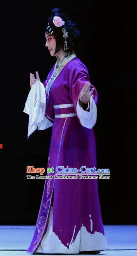 Chinese Beijing Opera Young Lady Apparels Su Qin Costumes and Headpieces Traditional Peking Opera Maidservant Purple Dress Garment