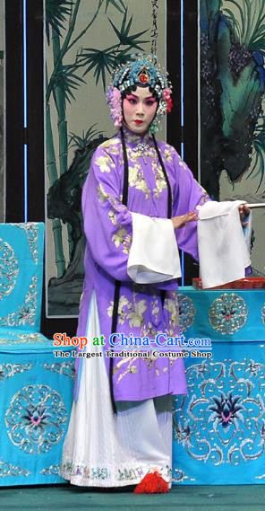 Chinese Beijing Opera Young Female Purple Apparels Su Xiaomei Costumes and Headpieces Traditional Peking Opera Hua Tan Dress Diva Garment