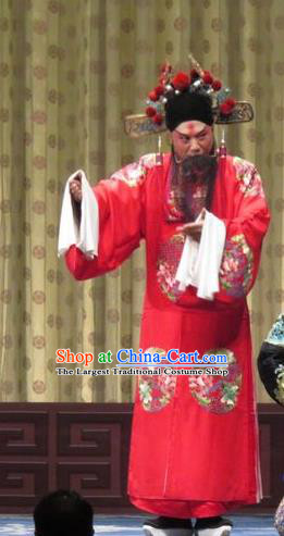 Qin Xianglian Chinese Ping Opera Official Chen Shimei Garment Costumes and Headwear Pingju Opera Elderly Male Apparels Clothing