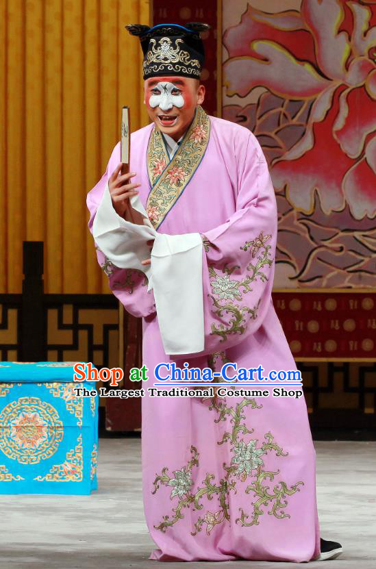 Shi Wen Hui Chinese Peking Opera Young Male Garment Costumes and Headwear Beijing Opera Chou Apparels Clown Purple Robe Clothing