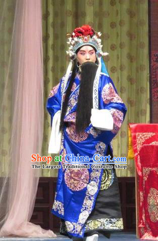 Qin Xianglian Chinese Ping Opera Old Male Chen Shimei Garment Costumes and Headwear Pingju Opera Minister Apparels Official Clothing