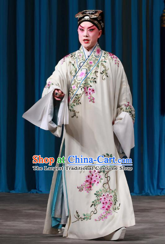 Shi Wen Hui Chinese Peking Opera Scholar Gu Ziyu Garment Costumes and Headwear Beijing Opera Young Male Apparels Gifted Youth Clothing